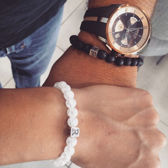 Lava and quartz rock crystals beads bracelet